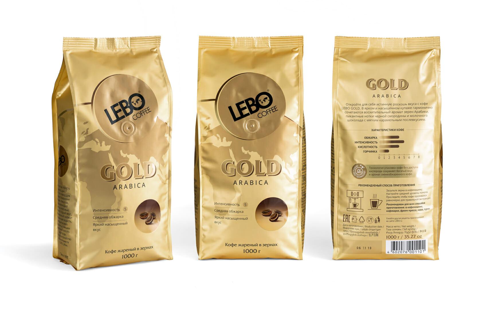 Дизайн новой пачки кофе Лебо со всех сторон разработан дизайнерами брендингового агентства Мухина Дизайн (Muhina Design)